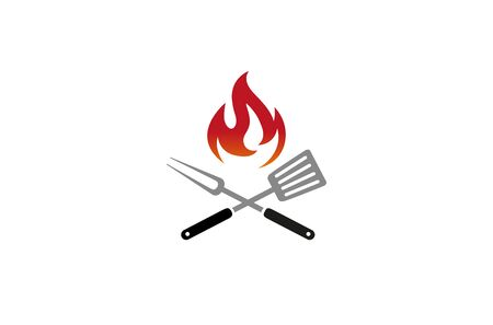 Creative Barbecue Kitchen Utensils Fire  Design Symbol Vector Illustration