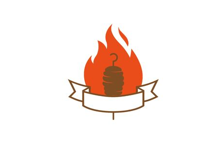 Creative Abstract Kebab Meat Fire  Design Symbol Vector Illustration Stock Illustratie