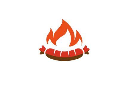 Creative Sausage Fire  Design Symbol Vector Illustration Stock Illustratie