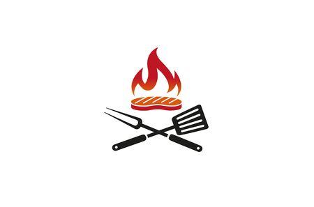 Creative Barbecue Steak Kitchen Utensils Fire  Design Symbol Vector Illustration Stock Illustratie