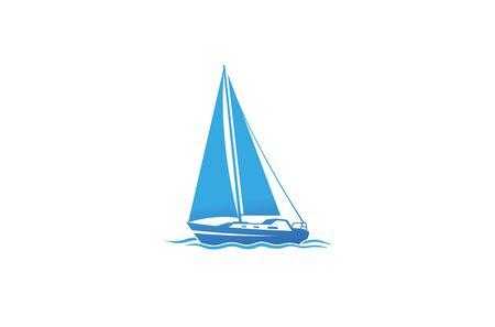 Creative Blue Yacht Boat  Design Vector Symbol Illustration