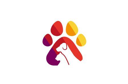 Creative Pet Paw  Design Vector Symbol Illustration