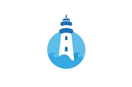 Creative lighthouse Circle  Design Vector Symbol Illustration