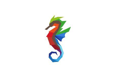 Creative Colorful Seahorse  Design Vector Symbol Illustration
