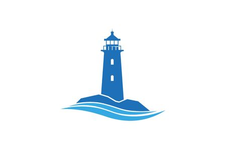 Creative Abstract Blue Lighthouse Waves  Design Vector Symbol Illustration Ilustração