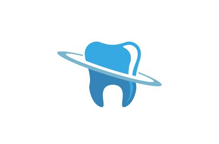 Creative Abstract Blue Planet Dental Tooth  Design Vector Symbol Illustration