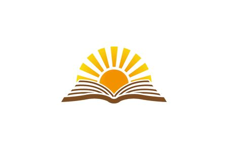 Creative Abstract Open Book Sun  Design Vector Symbol Illustration