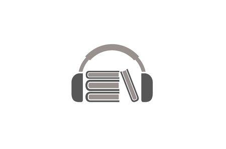 Creative Abstract Headphone Books  Design Vector Symbol Illustration