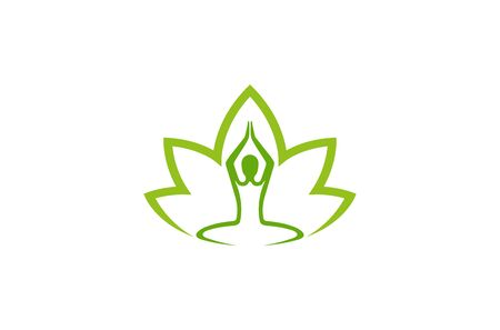 Creative Abstract Body Zen Yoga Lotus Leaf  Design Vector Symbol Illustration