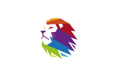 Creative Colorful Lion Head Logo Çizim