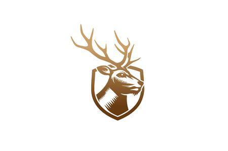 Creative Brown Deer Head Shield Logo