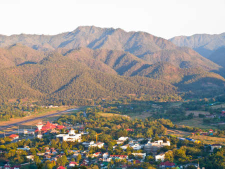 The Mae Hong Son airport is located  nearby  Mae Hong Son downtown surrounded by Mountains photo