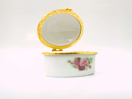 An opened Ceramic case for keeping either lozenge or pastille for lady from Thailand photo