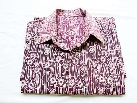 brown shirt: Floral brown batik shirt