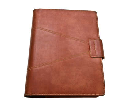 Red brown leather organizer isolated by white Stock Photo - 17529443