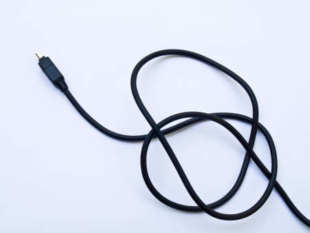 Black usb cable isolated on white background photo