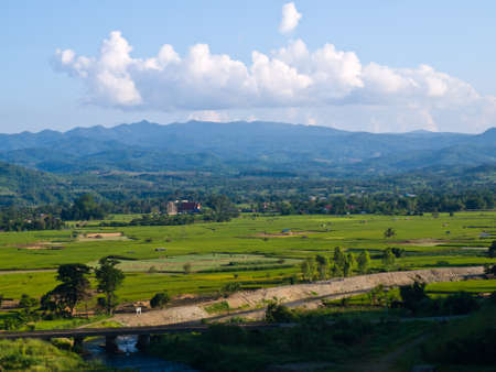 Paddy field and moutain view nearby Mae Suay reservoir, Chiang rai, Thailand photo