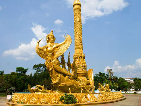 Golden wax sculpture at Tung Sri Muang park in Ubon Ratchathani province, Thailand Stock Photo