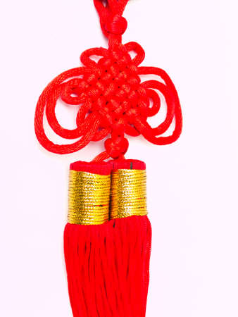 conviviality: Red tassels of China knot - a kind of adornment in festival Stock Photo