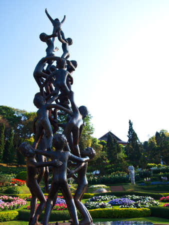 Continuity Statue, a sculpture by the late Misiem Yip-In-Soi  in Mae Fah Luang Garden on Doi Tung Chiang rai,Thailand- it is a public domain, no restrict of use Stock Photo - 17842131