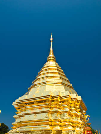 Golden pagoda, Wat Phrathat Doi Suthep temple in Chiang Mai, Thailand  photo