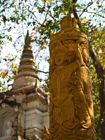 golden wax carving candle, Wat Phrathat chomkitti temple in Chiang rai, Thailand Stock Photo - 17879697