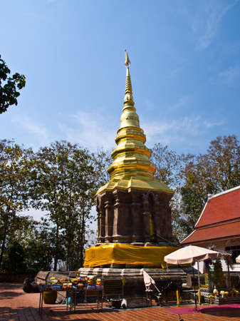 Golden pagoda, Wat Phrathat chomkittitemple in Chiang rai, Thailand  photo