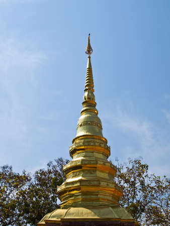 Top of golden pagoda, Wat Phrathat chomkitti temple in Chiang rai, Thailand  Stock Photo