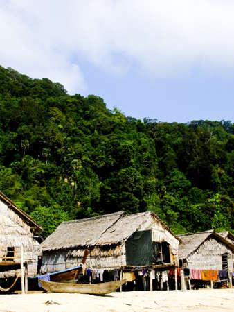 Phangnga, Thailand- March 15 -Vernacular houses in Morgan, sea Gypsie, village in Surin islandson March 15, 2012 in Phangnga  Editorial