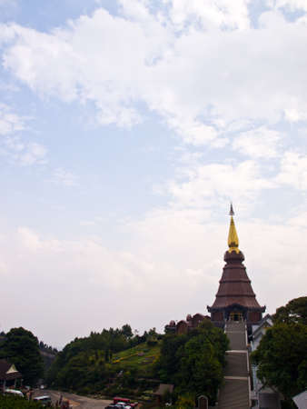 Phra Mahathat Noppha methanidon stupa temple on Doi Intanon mountain, Chiang Mai, Thailand  photo