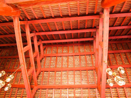 joist: Wooden roof structure with main beam and joist in Buddhist vihara in Pai, Mae hong son, Thailand