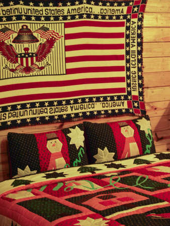 Bedroom in a Log Cabin house Stock Photo - 19067282