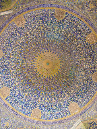 Dome of the mosque, oriental ornaments from Shah Mosque in Isfahan, Iran Stock Photo - 19454077