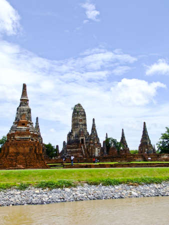 Chaiwatthanaram buddhist monastery on the bank of Chaopraya river in Ayutthaya, old capital city, in Thailand photo