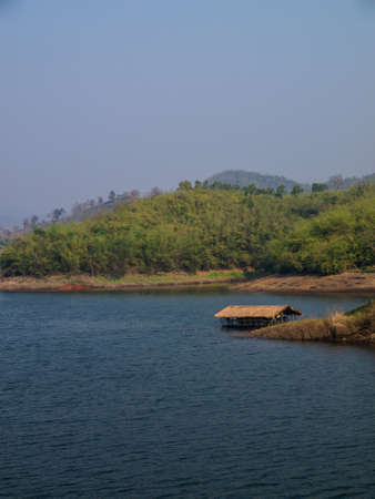Floating bamboo hut in Mae Suay reservoir in Chiang rai, Thailand photo