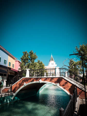 anal: Grand Canal and bridge in sunny day, Venice, Italy in retro style