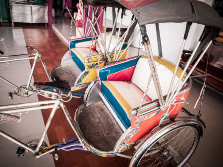 three wheeler: Close up of Thai tricycle cabin - Tuk Tuk- in Bangkok Thailand in retro style