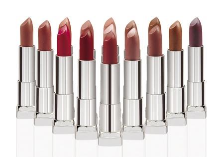 Make-up  Cosmetics   Group of lipsticks isolated on white photo