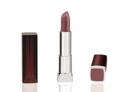 Make-up  Cosmetics   Brown lipstick isolated on white photo