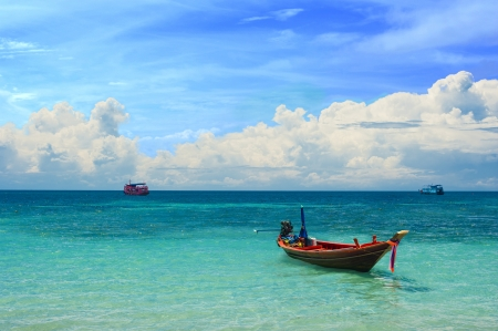 Colorful taxi boat in the tropical paradise sea, Koh Tao, Thailand
