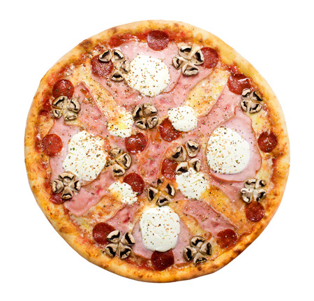 bell curve: Pizza from the top  Isolated on a white