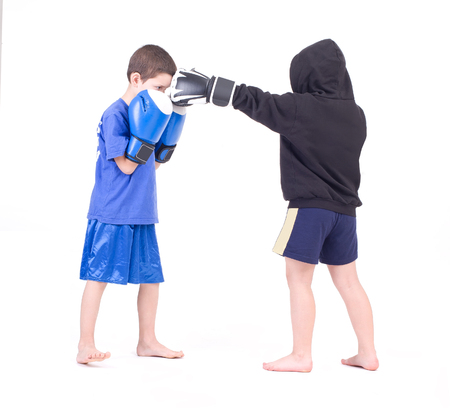 Kickboxing fighters  Isolated on a white background  Studio shot photo