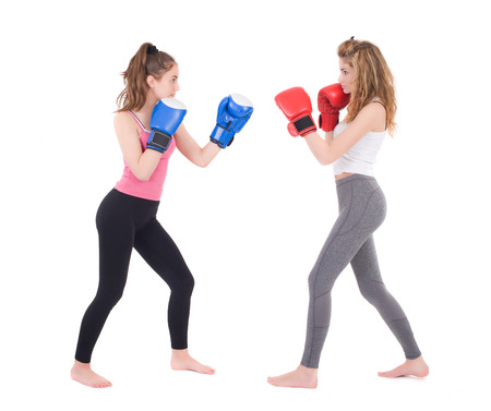 kickboxing girls fight  Isolated on a white background  Studio shot photo