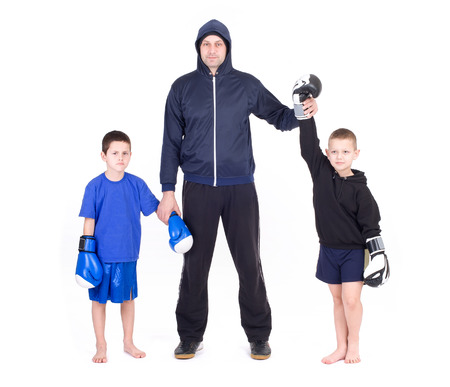 Kids Kickboxing Fight  Isolated on a white background  Studio shot Stock Photo - 28462315