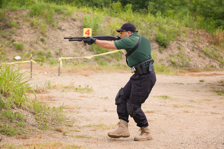 Man in Shotgun Shooting Training, Outdoor Shooting Range