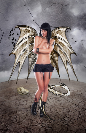 gothic girl: Dragon Lady  Tale of Dragon Girl and the Imaginary World of Fantasy Stock Photo