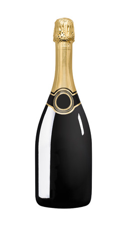 Sparkling black wine bottle. Black wine bottle isolated on a white background with no label on the bottle
