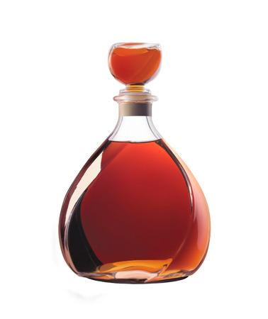 Bottle of whiskey isolated on a white background.