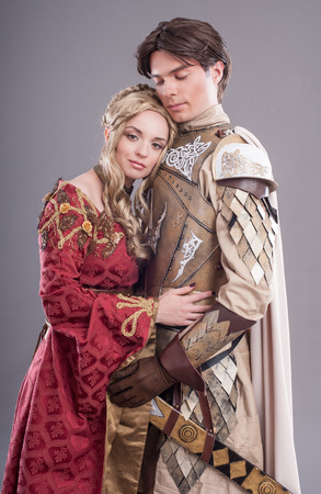 victorian girl: Medieval lovers. Fairy couple in medieval costumes