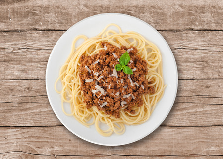 Goulash soup with spaghetti. A Serbian traditional dish made from beef and pork. photo